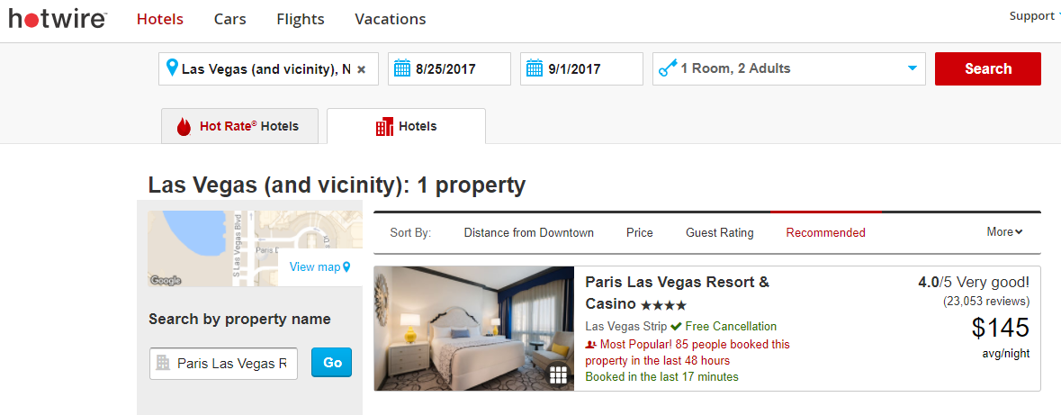 Las Vegas Paris Hotel August 2017 Hotwire