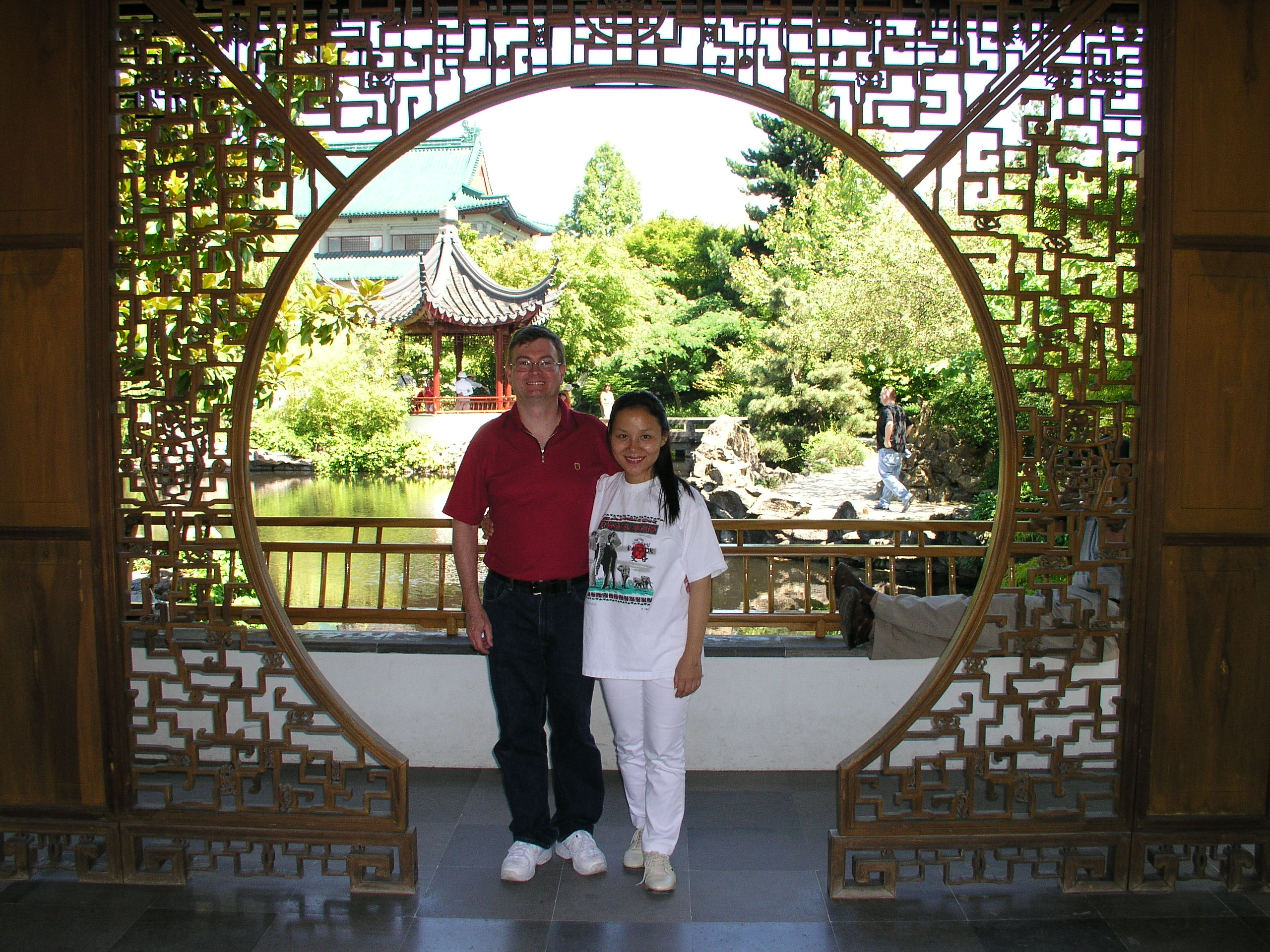 Xin and Karl at Dr. Sun Yat-Sen Classical Chinese Garden, Vancouver, Canada in 2004
