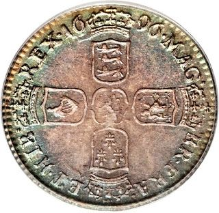 1696 British Sixpence Silver Coin