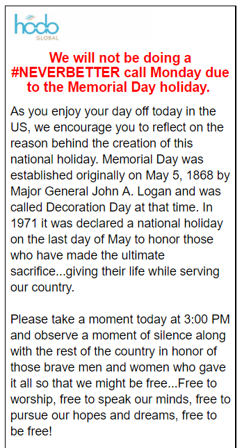 Webinar Cancelled in Observance of Memorial Day