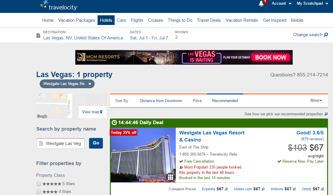 Westgate Travelocity Comparison