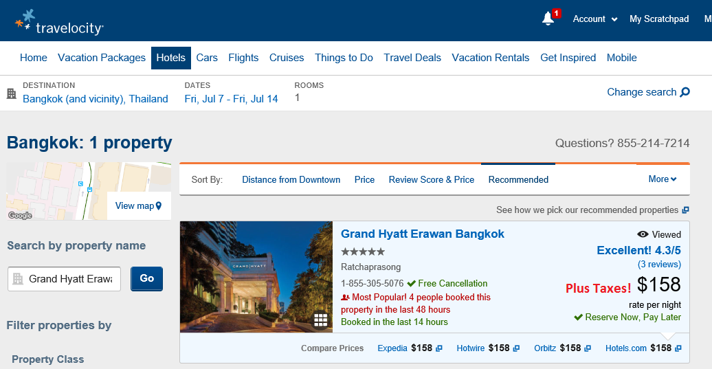 Bangkok Grand Hyatt Travelocity.com Quote