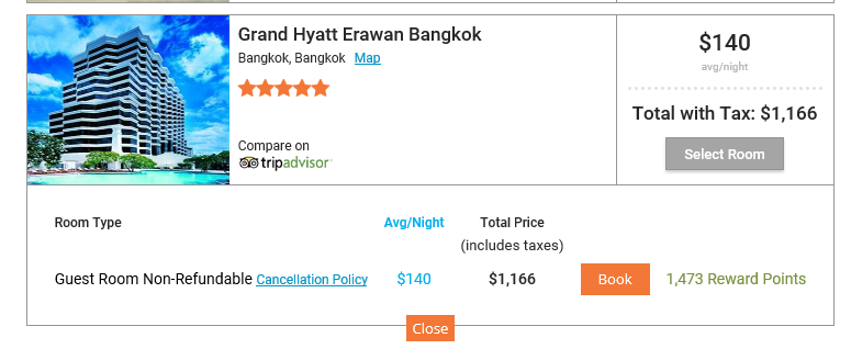 Bangkok Grand Hyatt TripSpin Quote