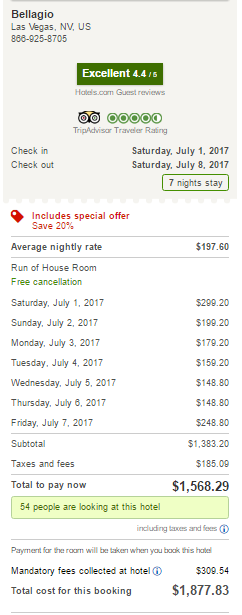 Bellagio Hotel - Hotels.com- July 2017