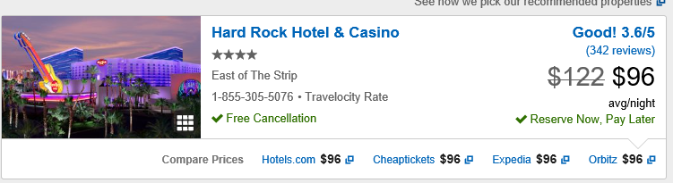 Hard Rock Hotel Travelocity Quote