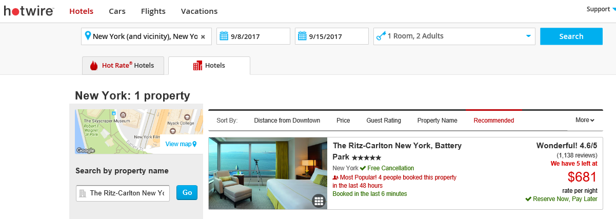 Ritz Carleton Battery Park - Hotwire.com September 2017