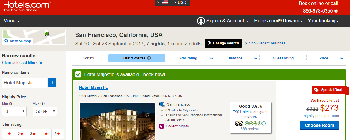 San Francisco September 2017 Hotels.com Quote
