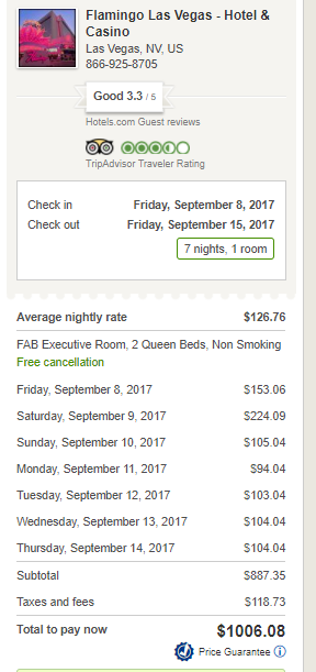 Las Vegas Flamingo September 2017 Hotels.com