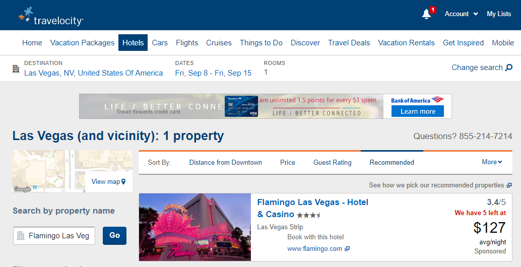 Las Vegas Flamingo September 2017 Travelocity