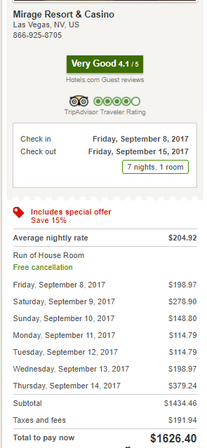 Las Vegas Mirage September 2017 Hotels.com